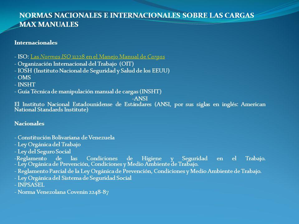 NORMAS NACIONALES E INTERNACIONALES SOBRE LAS CARGAS MAX MANUALES