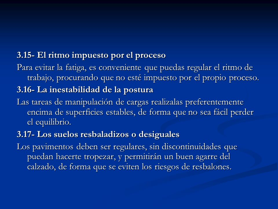 3.15- El ritmo impuesto por el proceso