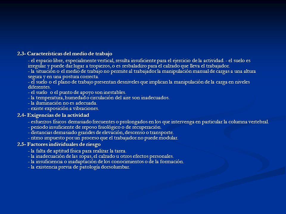 2.3- Características del medio de trabajo