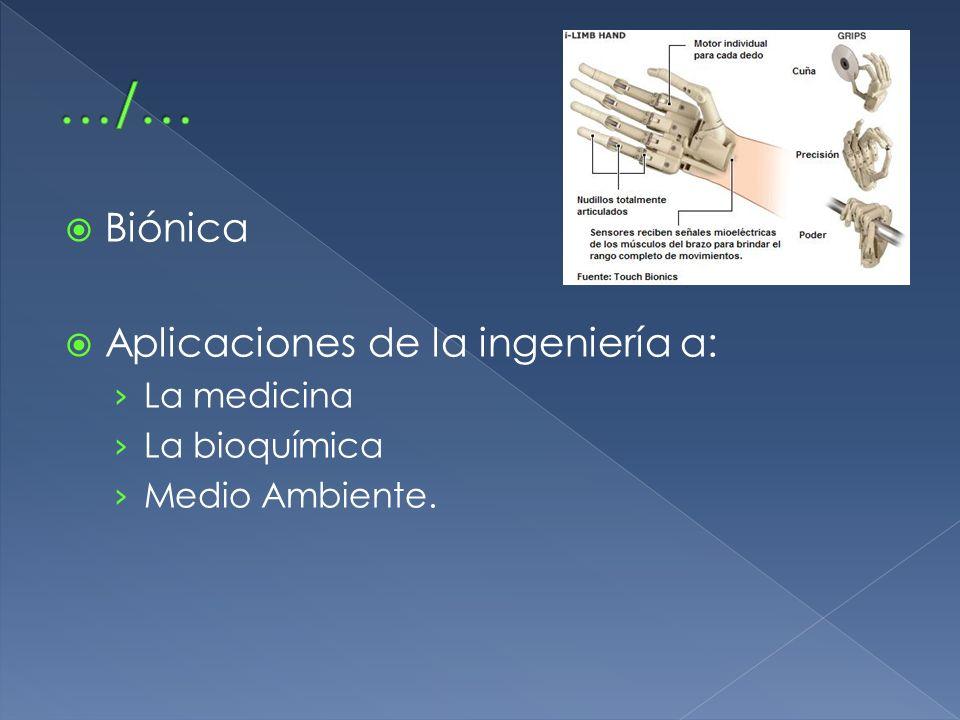 …/… Biónica Aplicaciones de la ingeniería a: La medicina La bioquímica