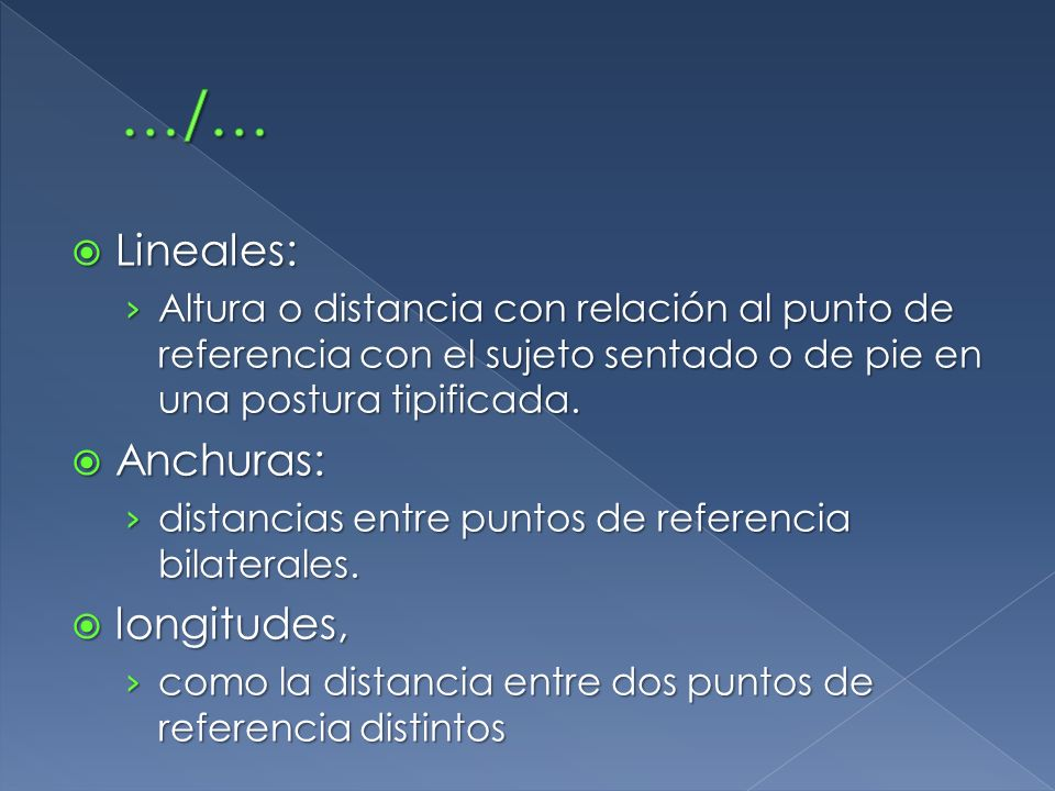 …/… Lineales: Anchuras: longitudes,