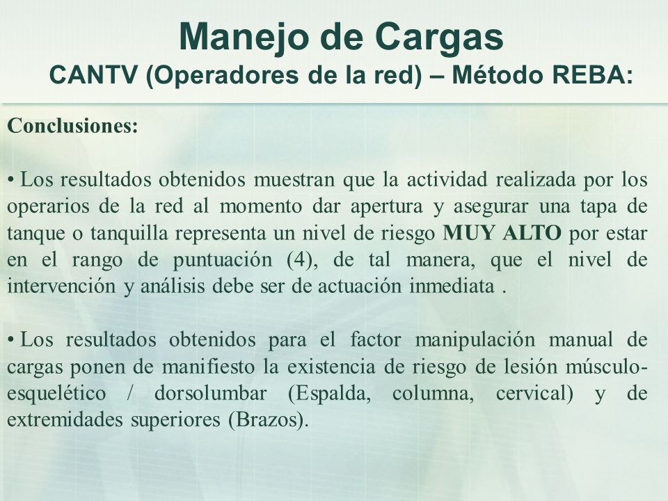 Manejo de Cargas CANTV (Operadores de la red) – Método REBA:
