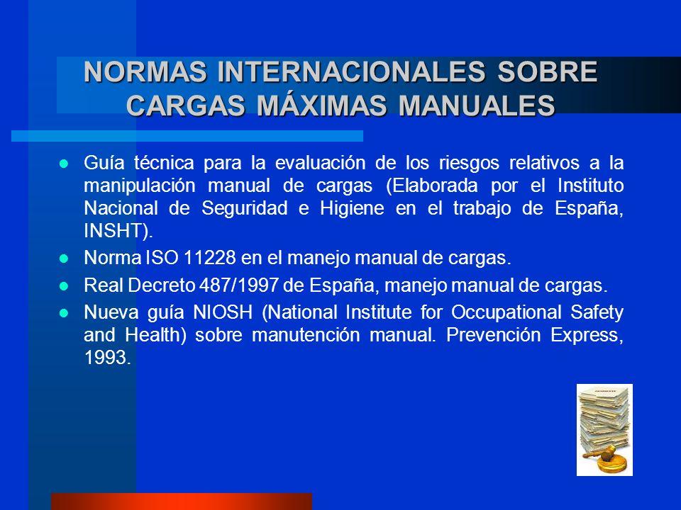 NORMAS INTERNACIONALES SOBRE CARGAS MÁXIMAS MANUALES