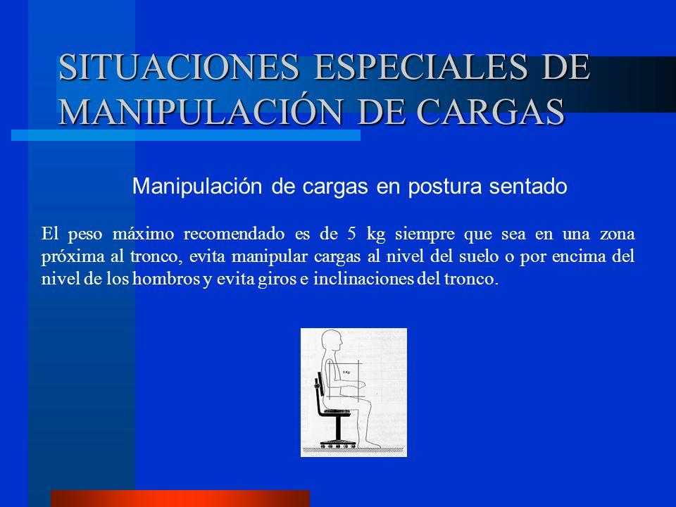 SITUACIONES ESPECIALES DE MANIPULACIÓN DE CARGAS