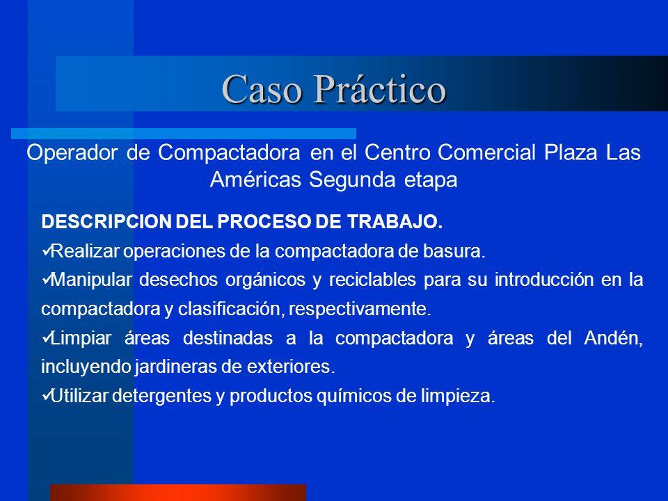 Caso Práctico Operador de Compactadora en el Centro Comercial Plaza Las Américas Segunda etapa. DESCRIPCION DEL PROCESO DE TRABAJO.