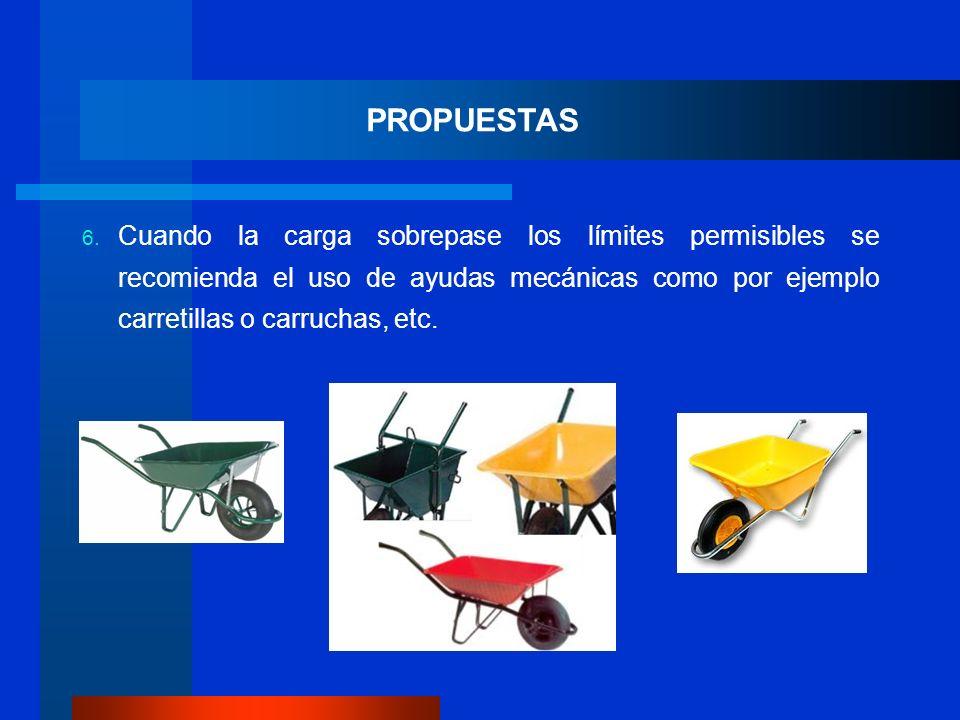 PROPUESTAS Cuando la carga sobrepase los límites permisibles se recomienda el uso de ayudas mecánicas como por ejemplo carretillas o carruchas, etc.