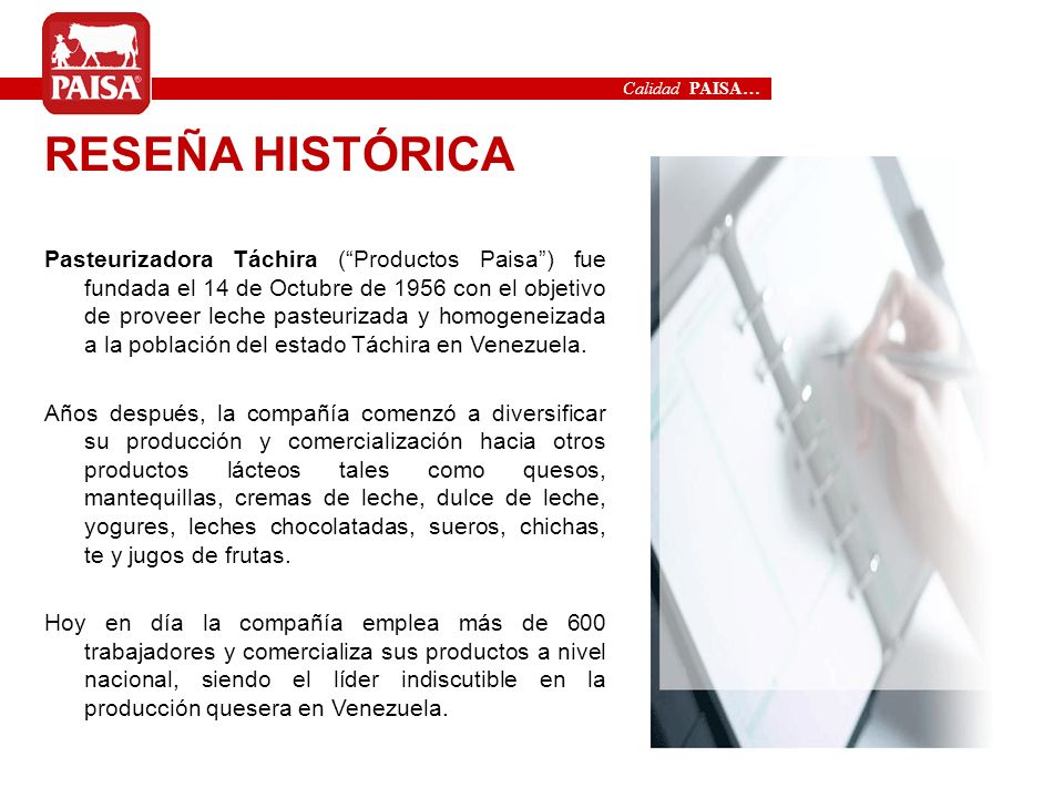 Calidad PAISA…RESEÑA HISTÓRICA.