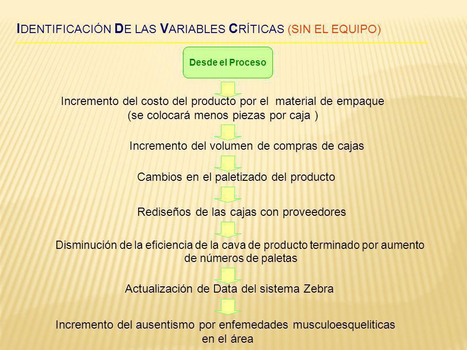 IDENTIFICACIÓN DE LAS VARIABLES CRÍTICAS (SIN EL EQUIPO)