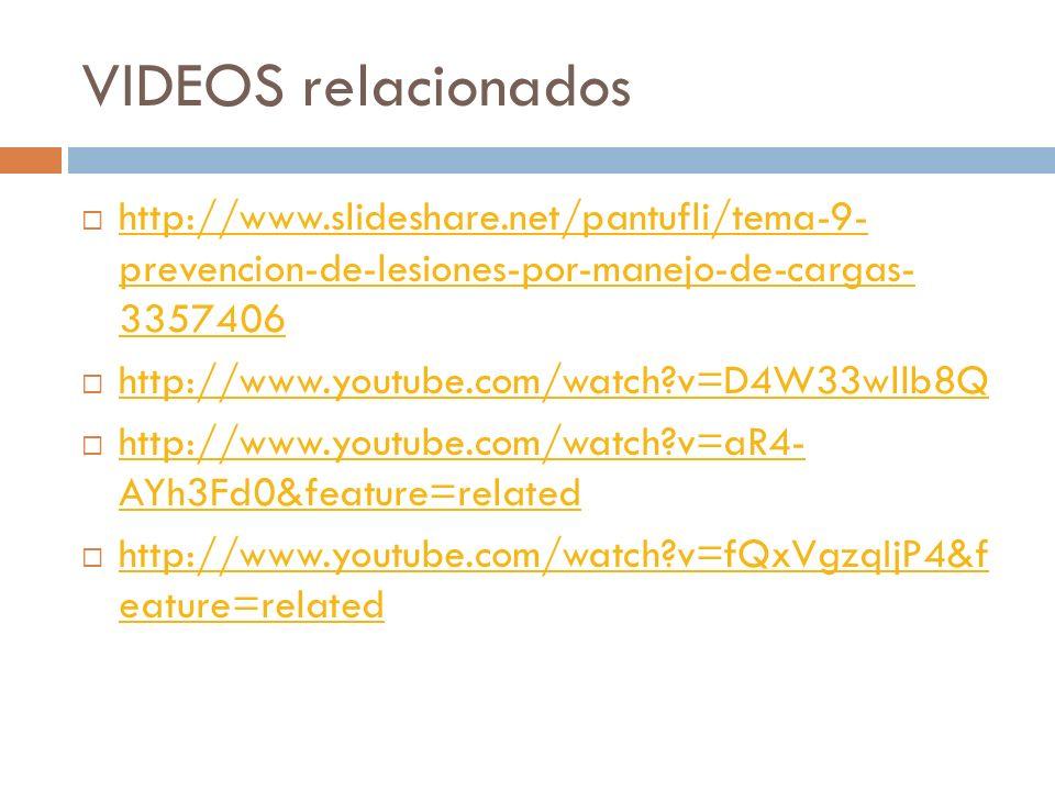 VIDEOS relacionados http://www.slideshare.net/pantufli/tema-9- prevencion-de-lesiones-por-manejo-de-cargas- 3357406.