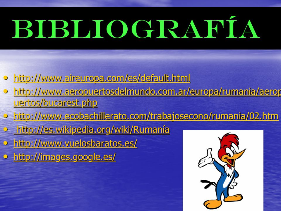 BIBLIOGRAFÍA http://www.aireuropa.com/es/default.html