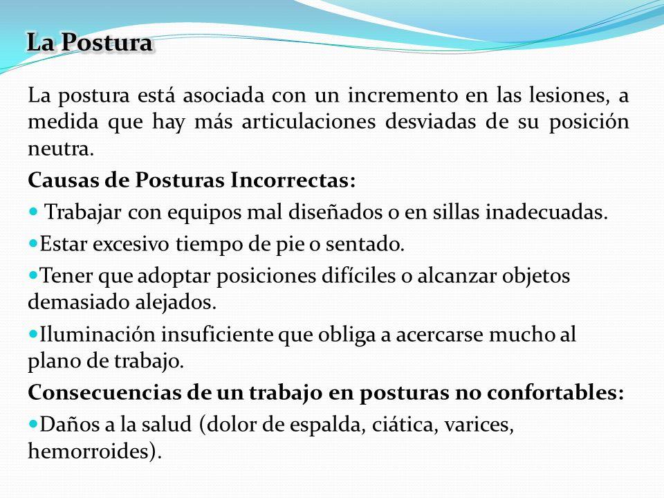 La Postura La postura está asociada con un incremento en las lesiones, a medida que hay más articulaciones desviadas de su posición neutra.
