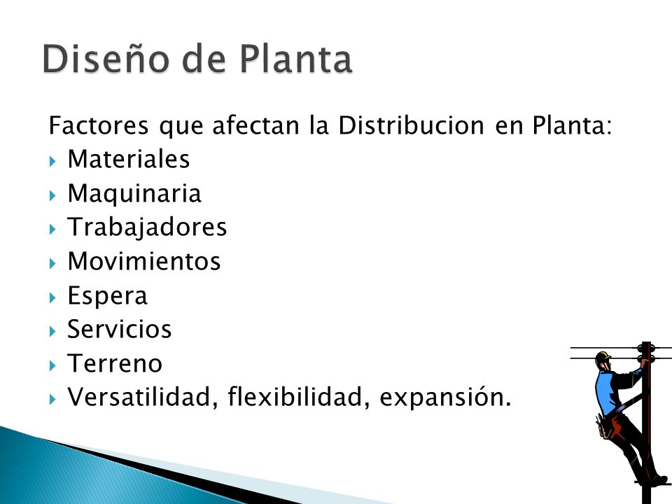 Diseño de Planta Factores que afectan la Distribucion en Planta:
