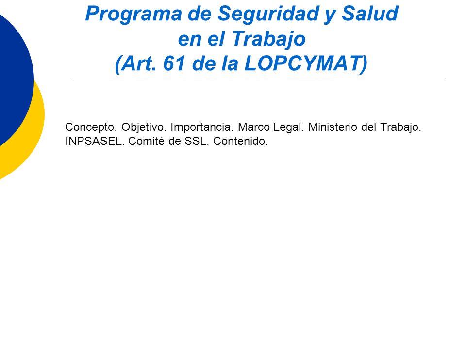 Programa de Seguridad y Salud en el Trabajo (Art. 61 de la LOPCYMAT)