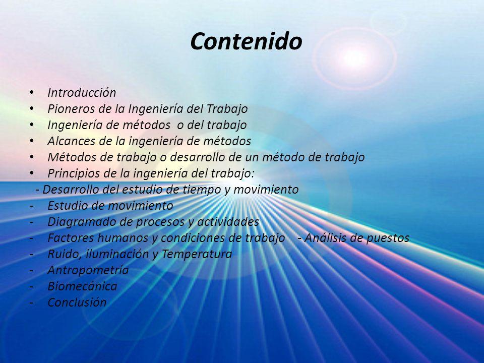 Contenido Introducción Pioneros de la Ingeniería del Trabajo