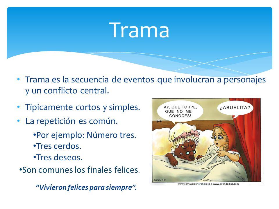 Trama Trama es la secuencia de eventos que involucran a personajes y un conflicto central. Típicamente cortos y simples.