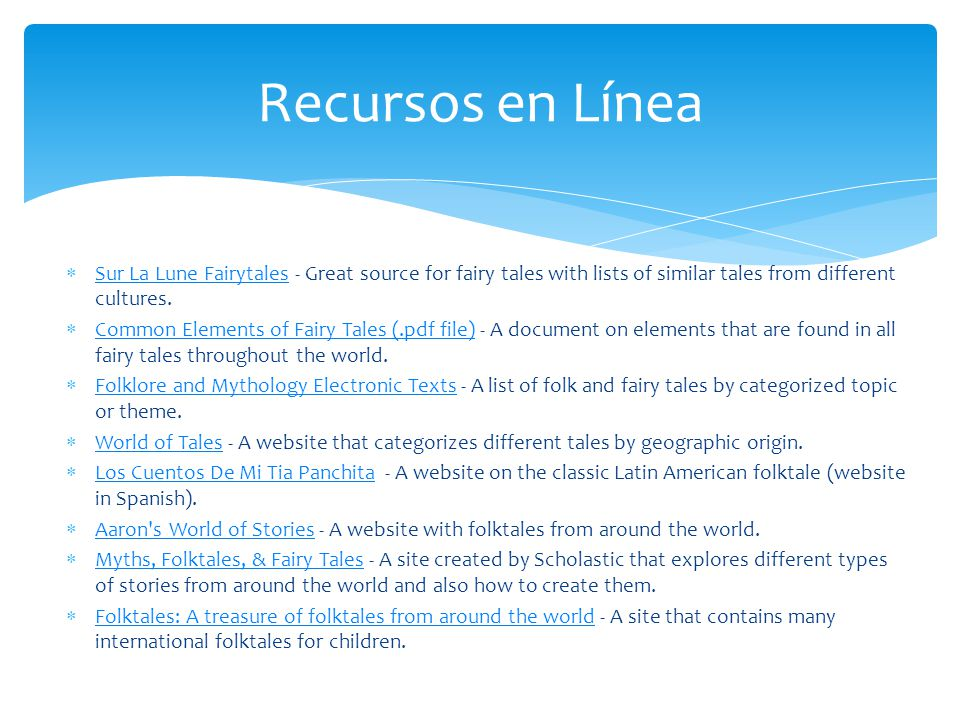 Recursos en Línea Sur La Lune Fairytales - Great source for fairy tales with lists of similar tales from different cultures.