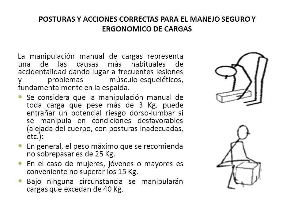 POSTURAS Y ACCIONES CORRECTAS PARA EL MANEJO SEGURO Y ERGONOMICO DE CARGAS