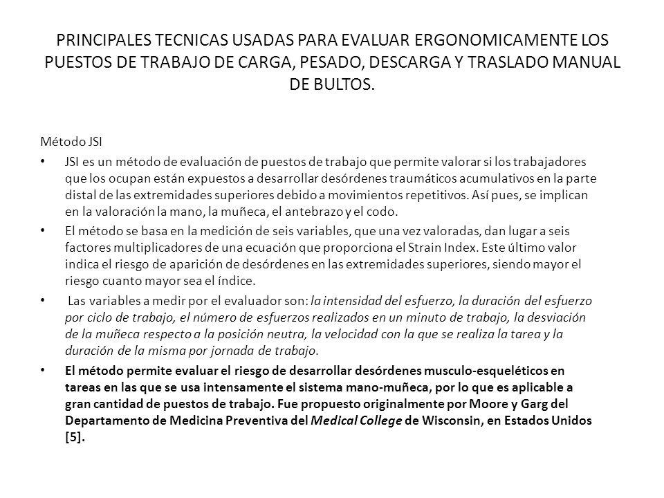 PRINCIPALES TECNICAS USADAS PARA EVALUAR ERGONOMICAMENTE LOS PUESTOS DE TRABAJO DE CARGA, PESADO, DESCARGA Y TRASLADO MANUAL DE BULTOS.