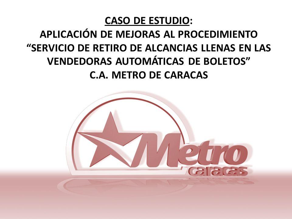 CASO DE ESTUDIO: APLICACIÓN DE MEJORAS AL PROCEDIMIENTO SERVICIO DE RETIRO DE ALCANCIAS LLENAS EN LAS VENDEDORAS AUTOMÁTICAS DE BOLETOS C.A.