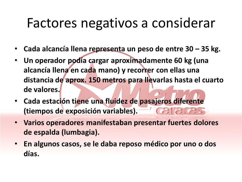 Factores negativos a considerar