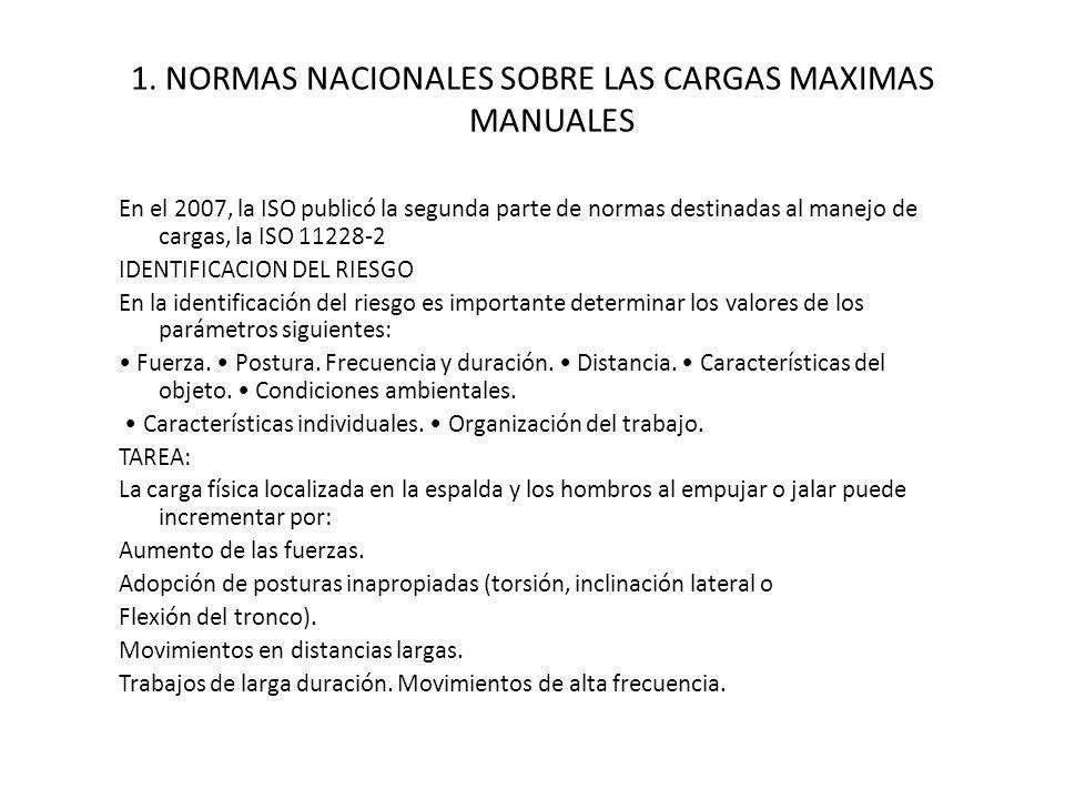 1. NORMAS NACIONALES SOBRE LAS CARGAS MAXIMAS MANUALES