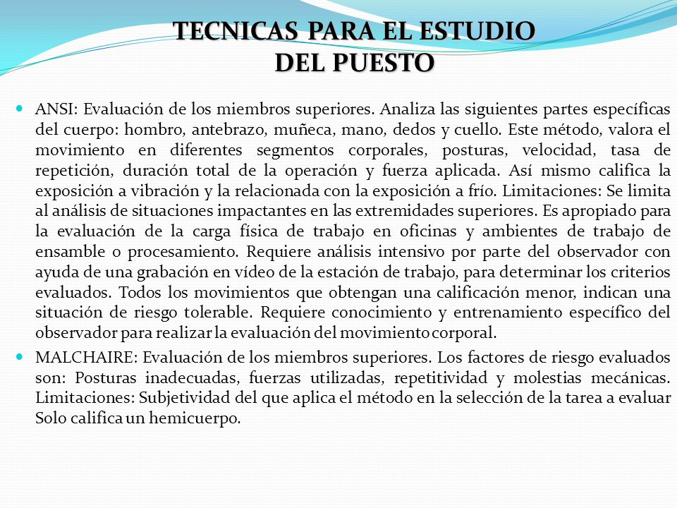 TECNICAS PARA EL ESTUDIO