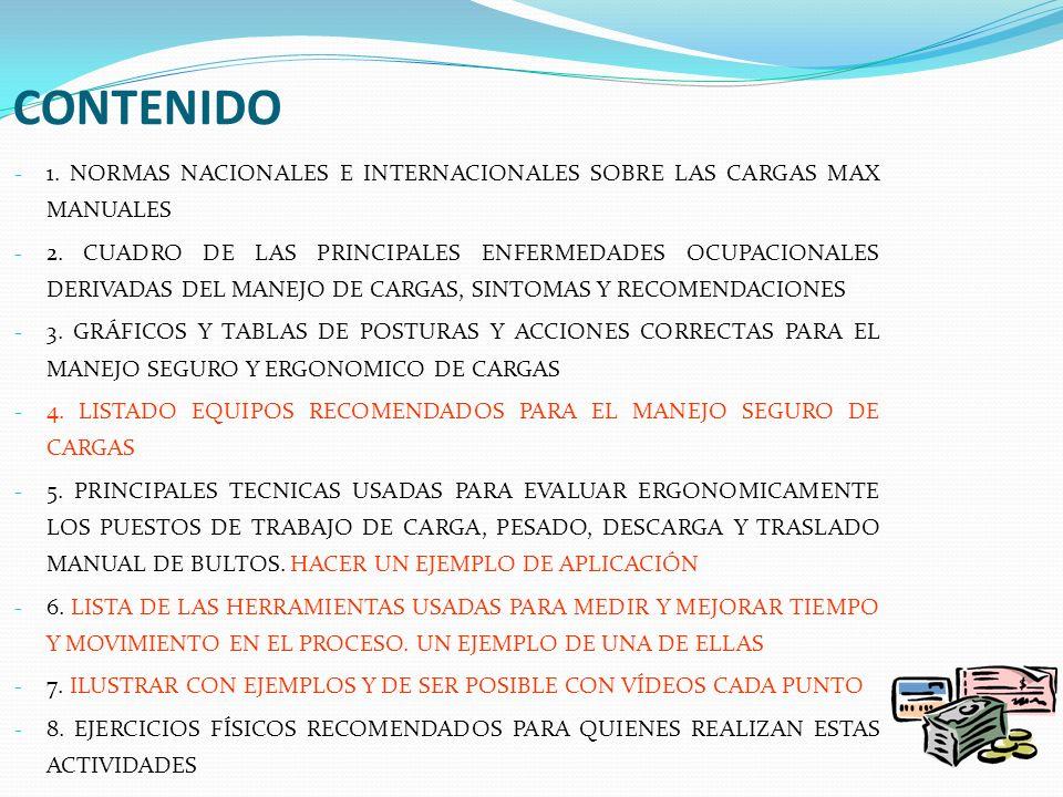 CONTENIDO 1. NORMAS NACIONALES E INTERNACIONALES SOBRE LAS CARGAS MAX MANUALES.
