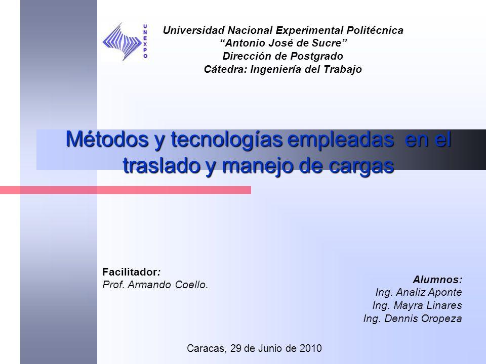Métodos y tecnologías empleadas en el traslado y manejo de cargas