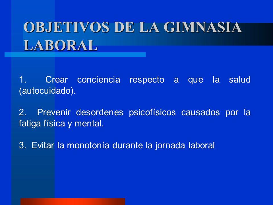 OBJETIVOS DE LA GIMNASIA LABORAL