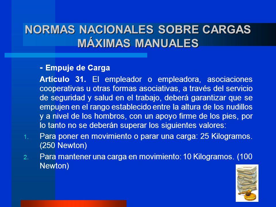 NORMAS NACIONALES SOBRE CARGAS MÁXIMAS MANUALES