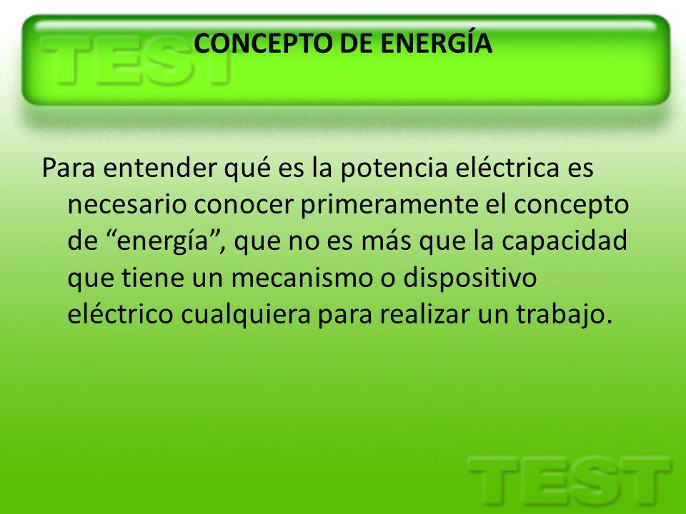 CONCEPTO DE ENERGÍA Para entender qué es la potencia eléctrica es necesario conocer primeramente el concepto de energía , que no es más que la capacidad que tiene un mecanismo o dispositivo eléctrico cualquiera para realizar un trabajo.