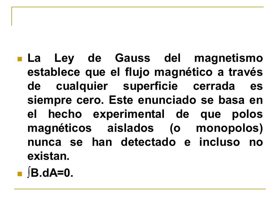 La Ley de Gauss del magnetismo establece que el flujo magnético a través de cualquier superficie cerrada es siempre cero. Este enunciado se basa en el hecho experimental de que polos magnéticos aislados (o monopolos) nunca se han detectado e incluso no existan.