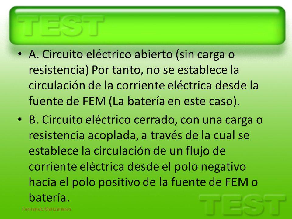 A. Circuito eléctrico abierto (sin carga o resistencia) Por tanto, no se establece la circulación de la corriente eléctrica desde la fuente de FEM (La batería en este caso).