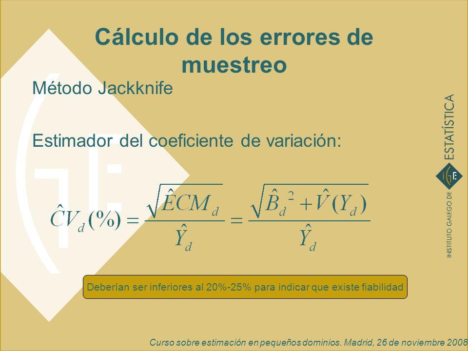 Cálculo de los errores de muestreo