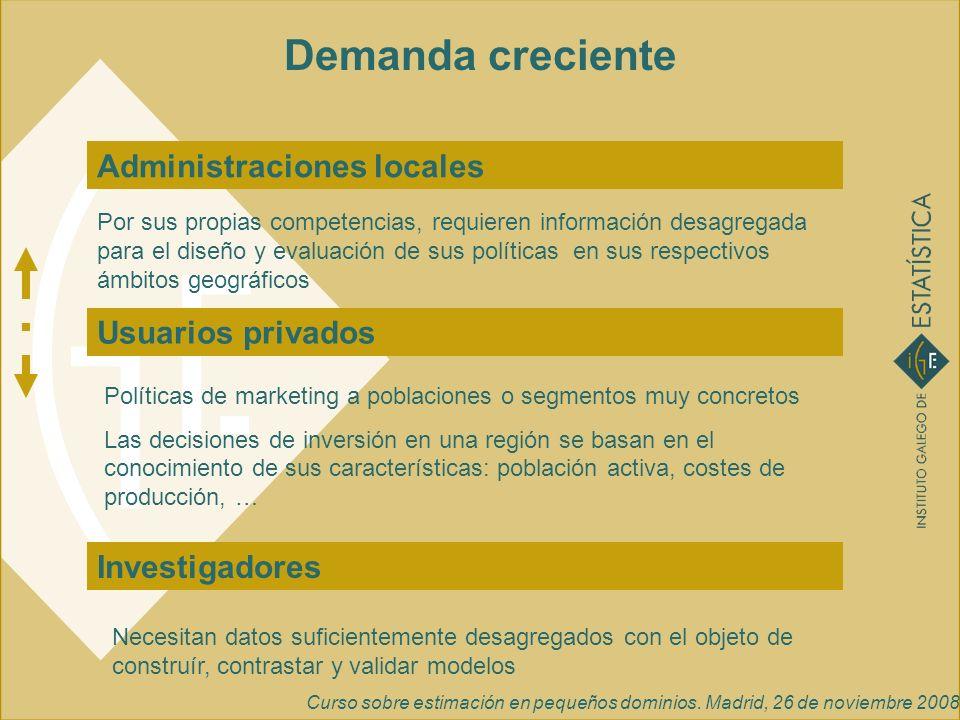 Demanda creciente Administraciones locales Usuarios privados