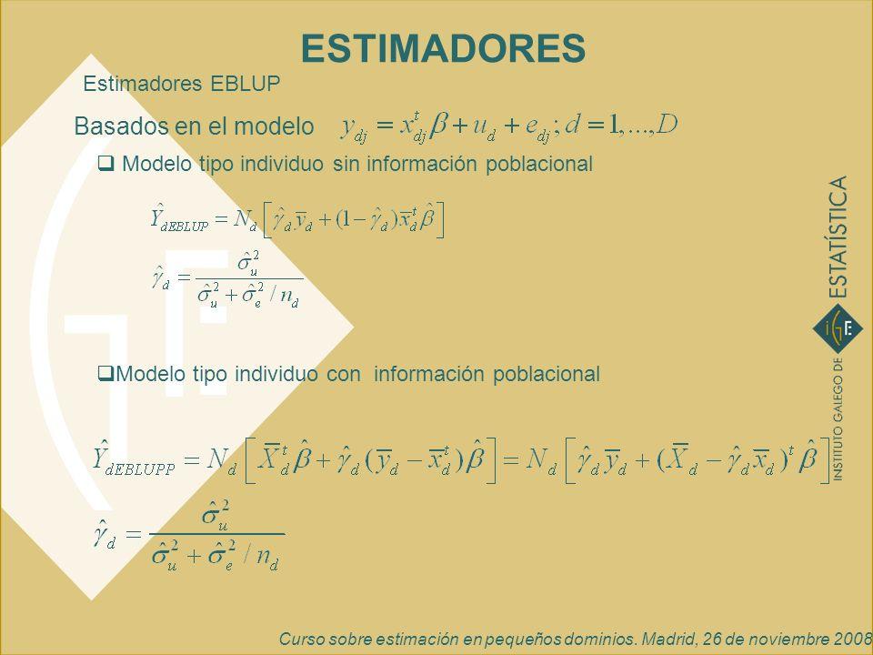 ESTIMADORES Basados en el modelo Estimadores EBLUP