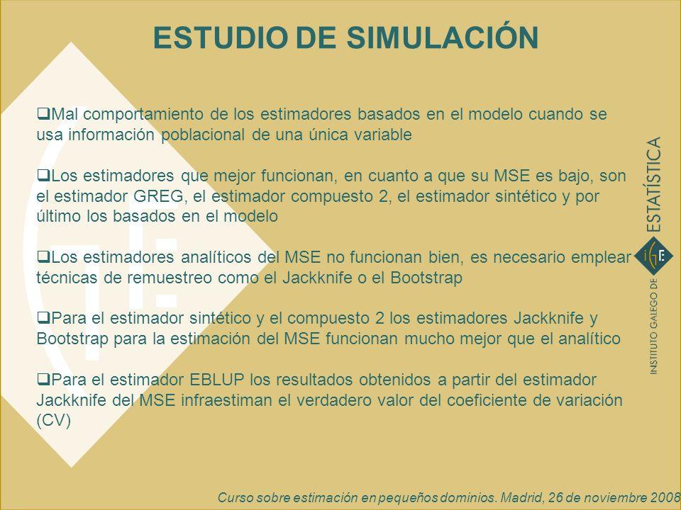 ESTUDIO DE SIMULACIÓNMal comportamiento de los estimadores basados en el modelo cuando se usa información poblacional de una única variable.
