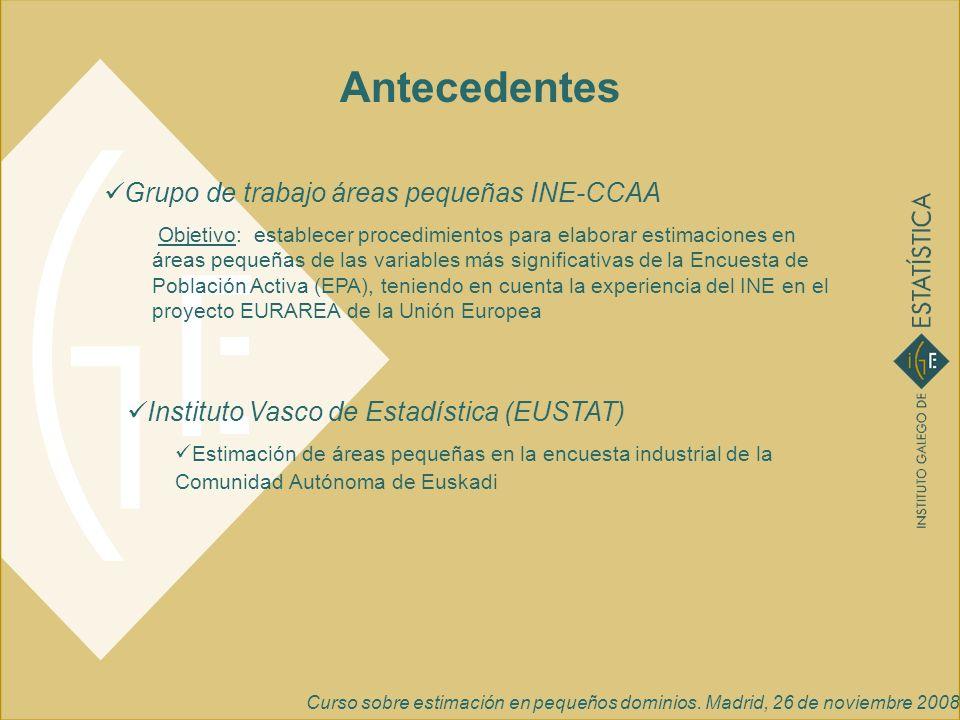 Antecedentes Grupo de trabajo áreas pequeñas INE-CCAA