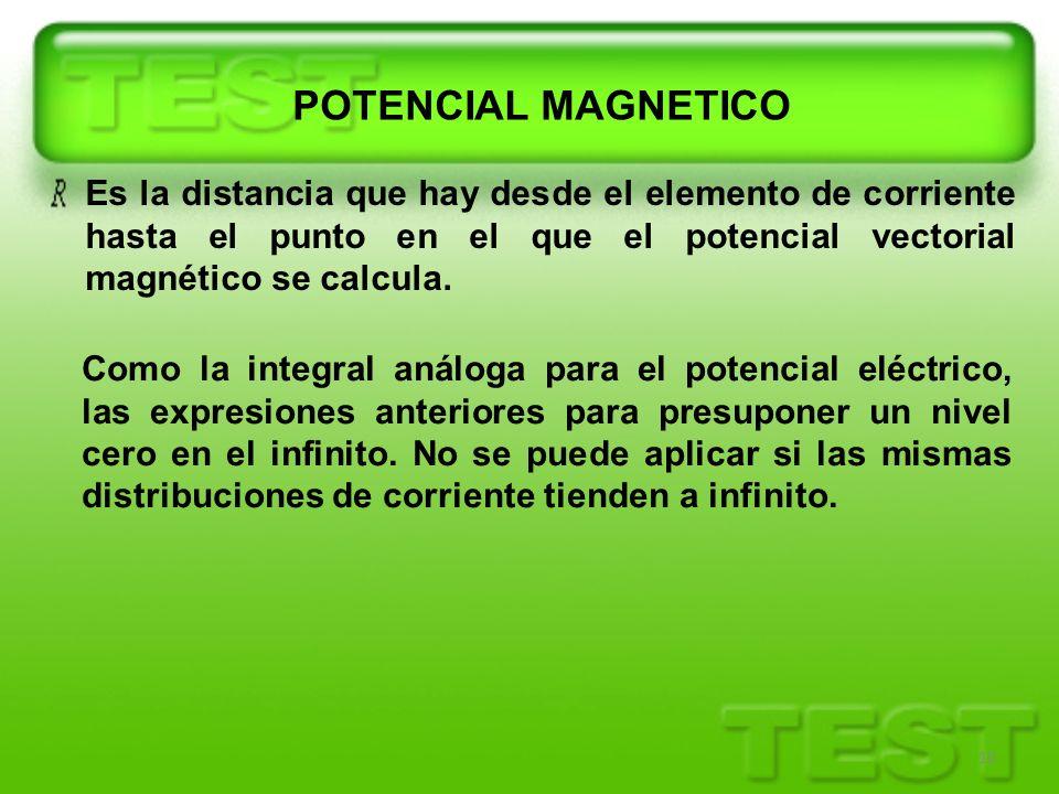 POTENCIAL MAGNETICO Es la distancia que hay desde el elemento de corriente hasta el punto en el que el potencial vectorial magnético se calcula.