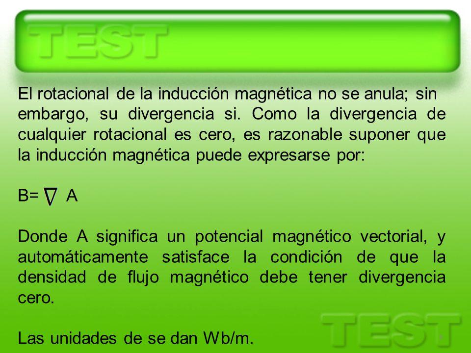 El rotacional de la inducción magnética no se anula; sin