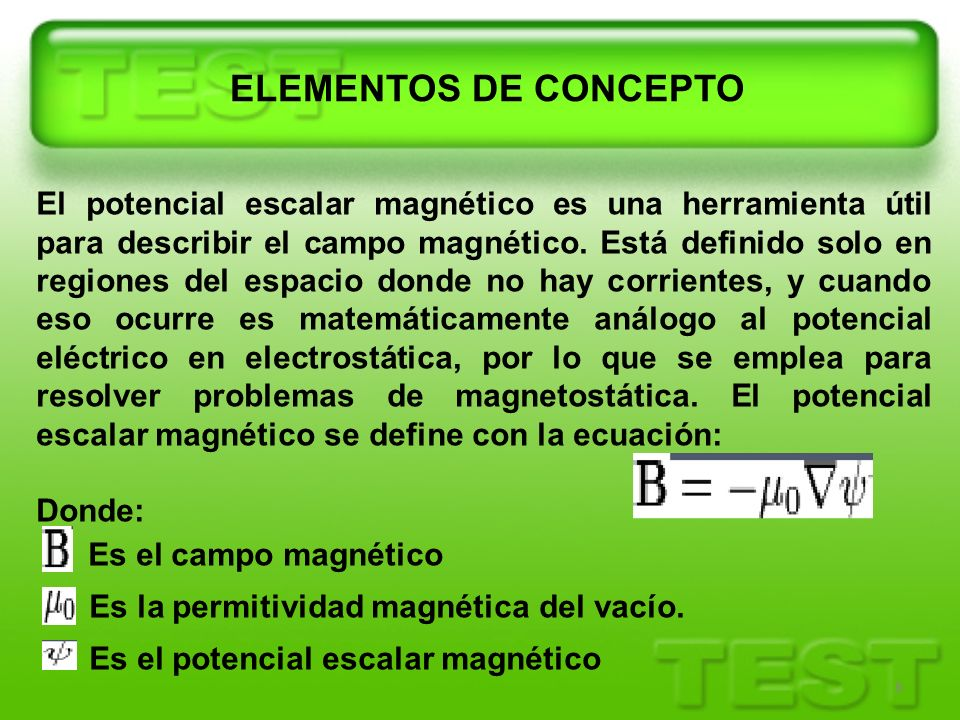 ELEMENTOS DE CONCEPTO Es el campo magnético