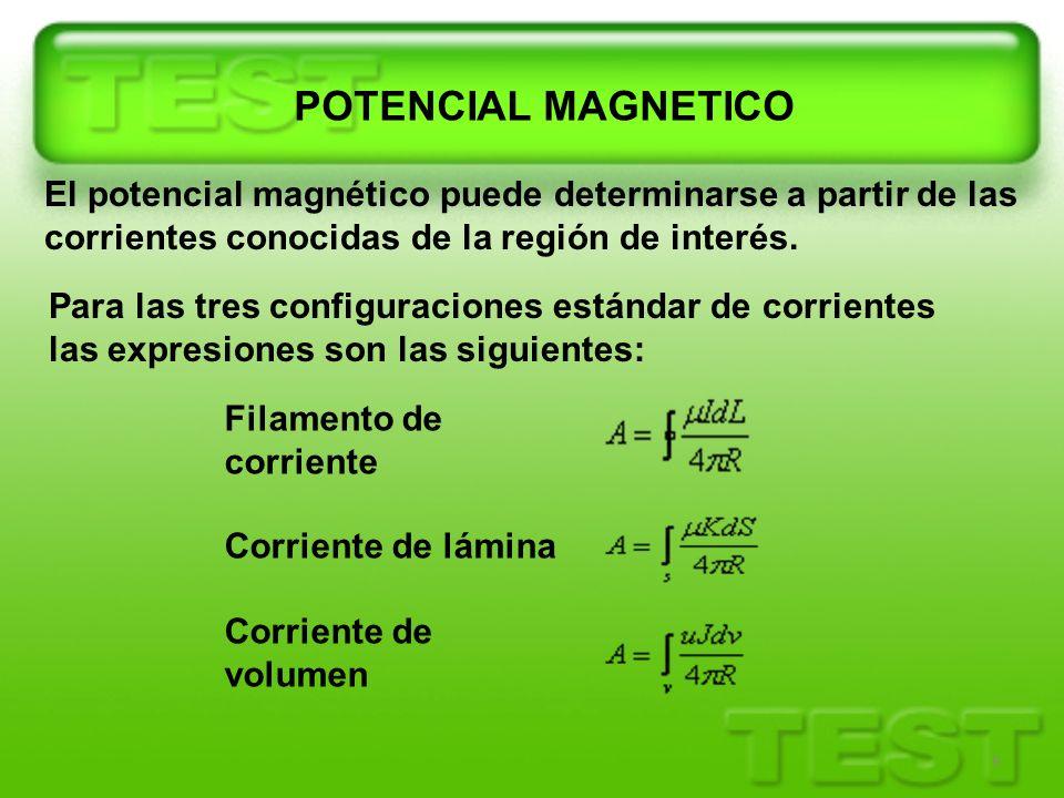 POTENCIAL MAGNETICO El potencial magnético puede determinarse a partir de las corrientes conocidas de la región de interés.