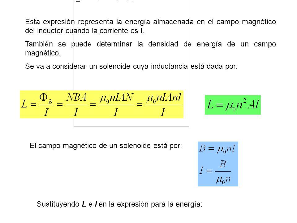 Esta expresión representa la energía almacenada en el campo magnético del inductor cuando la corriente es I.