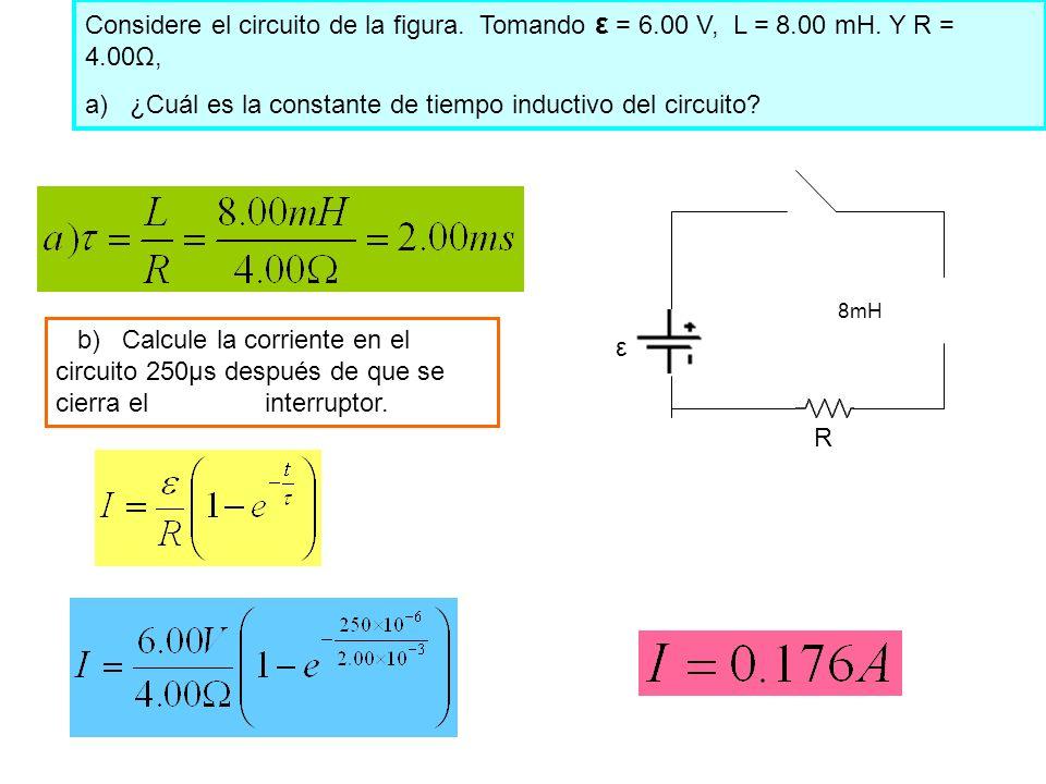 a) ¿Cuál es la constante de tiempo inductivo del circuito