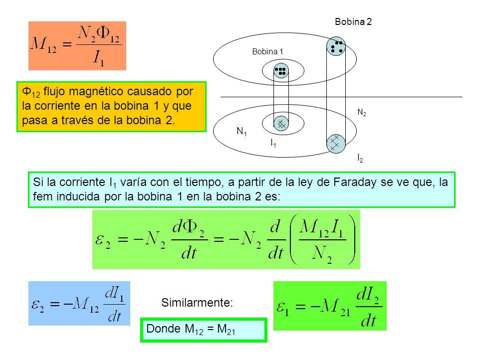 Bobina 1 Bobina 2. N2. I2. N1. I1. Φ12 flujo magnético causado por la corriente en la bobina 1 y que pasa a través de la bobina 2.