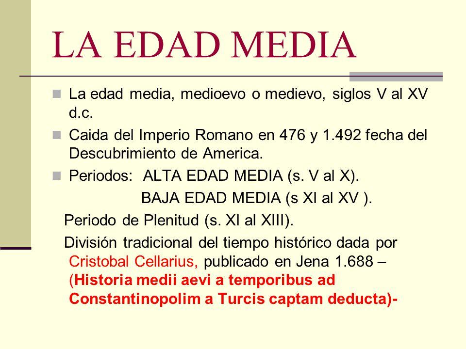 LA EDAD MEDIA La edad media, medioevo o medievo, siglos V al XV d.c.