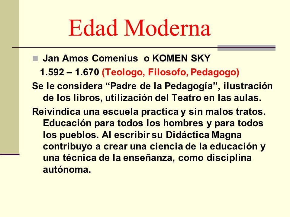 Edad Moderna Jan Amos Comenius o KOMEN SKY