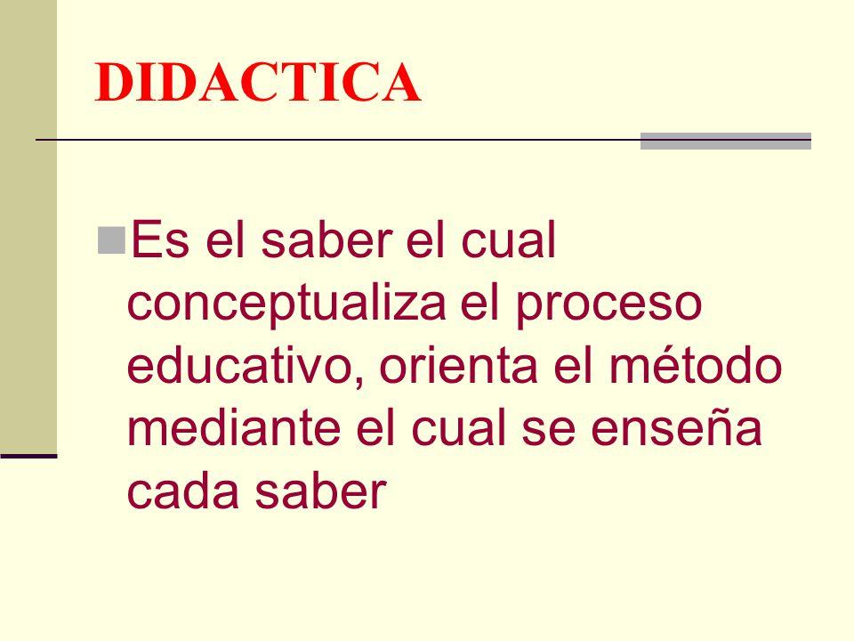 DIDACTICA Es el saber el cual conceptualiza el proceso educativo, orienta el método mediante el cual se enseña cada saber.