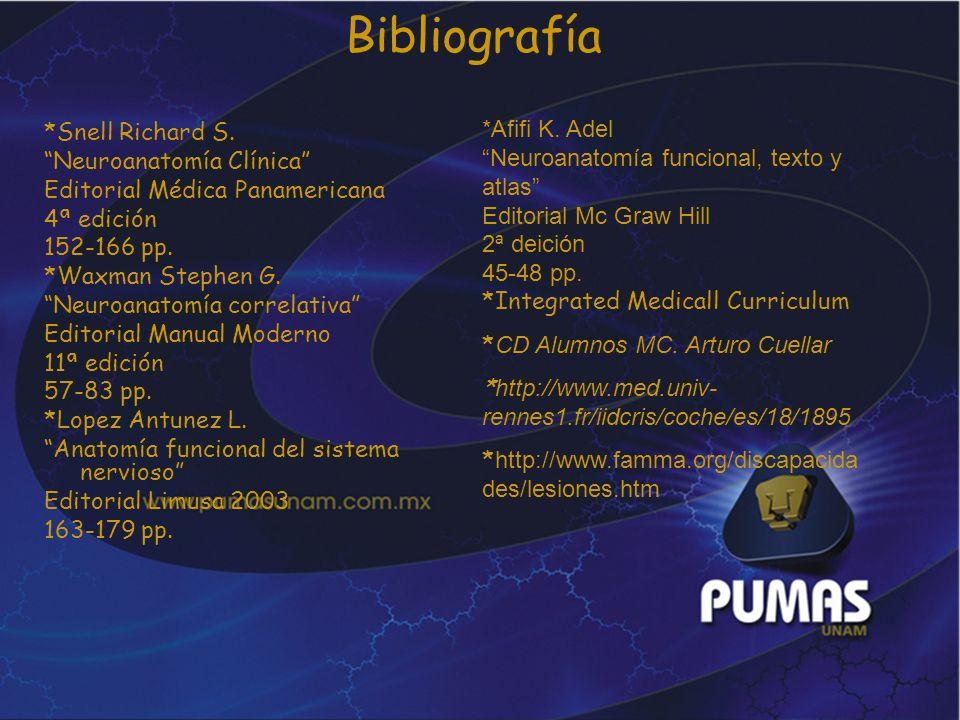 Bibliografía *Afifi K. Adel Neuroanatomía funcional, texto y atlas