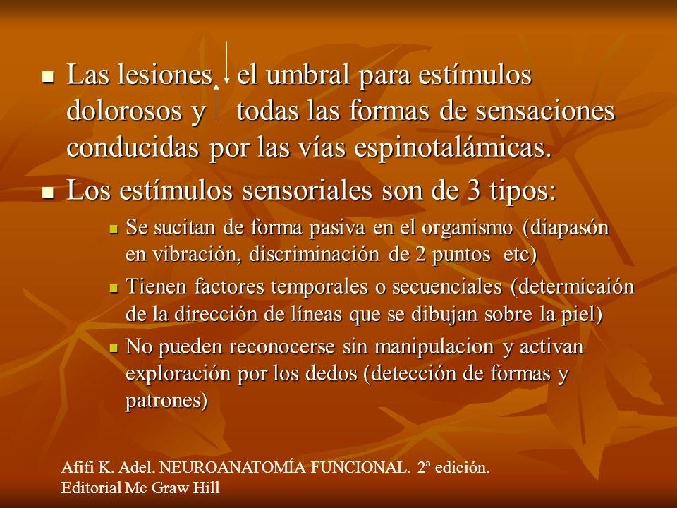 Los estímulos sensoriales son de 3 tipos: